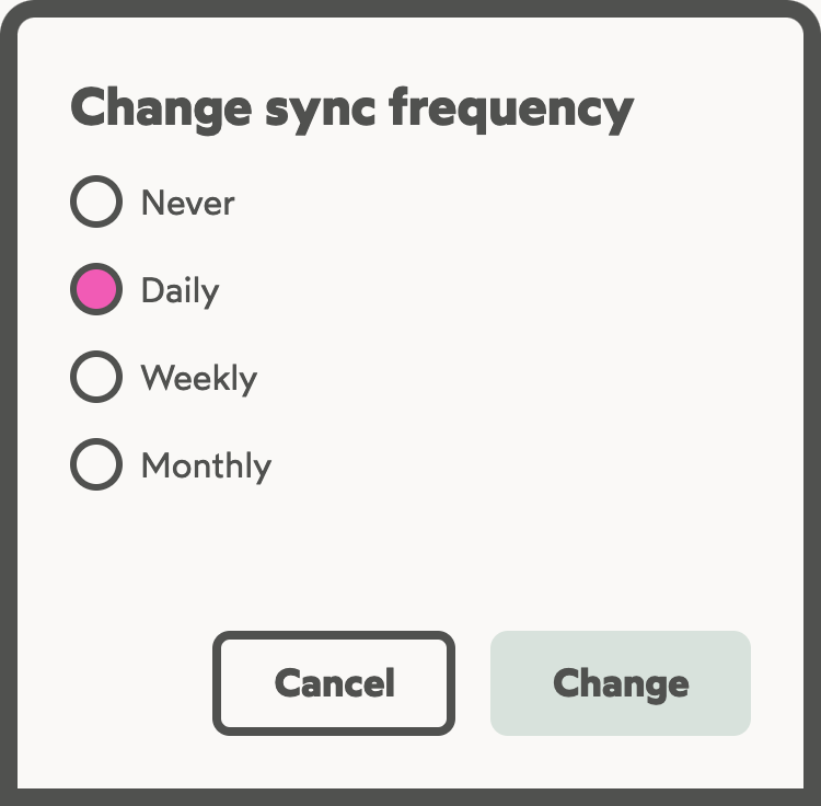Menu used to configure the sync frequency of a list